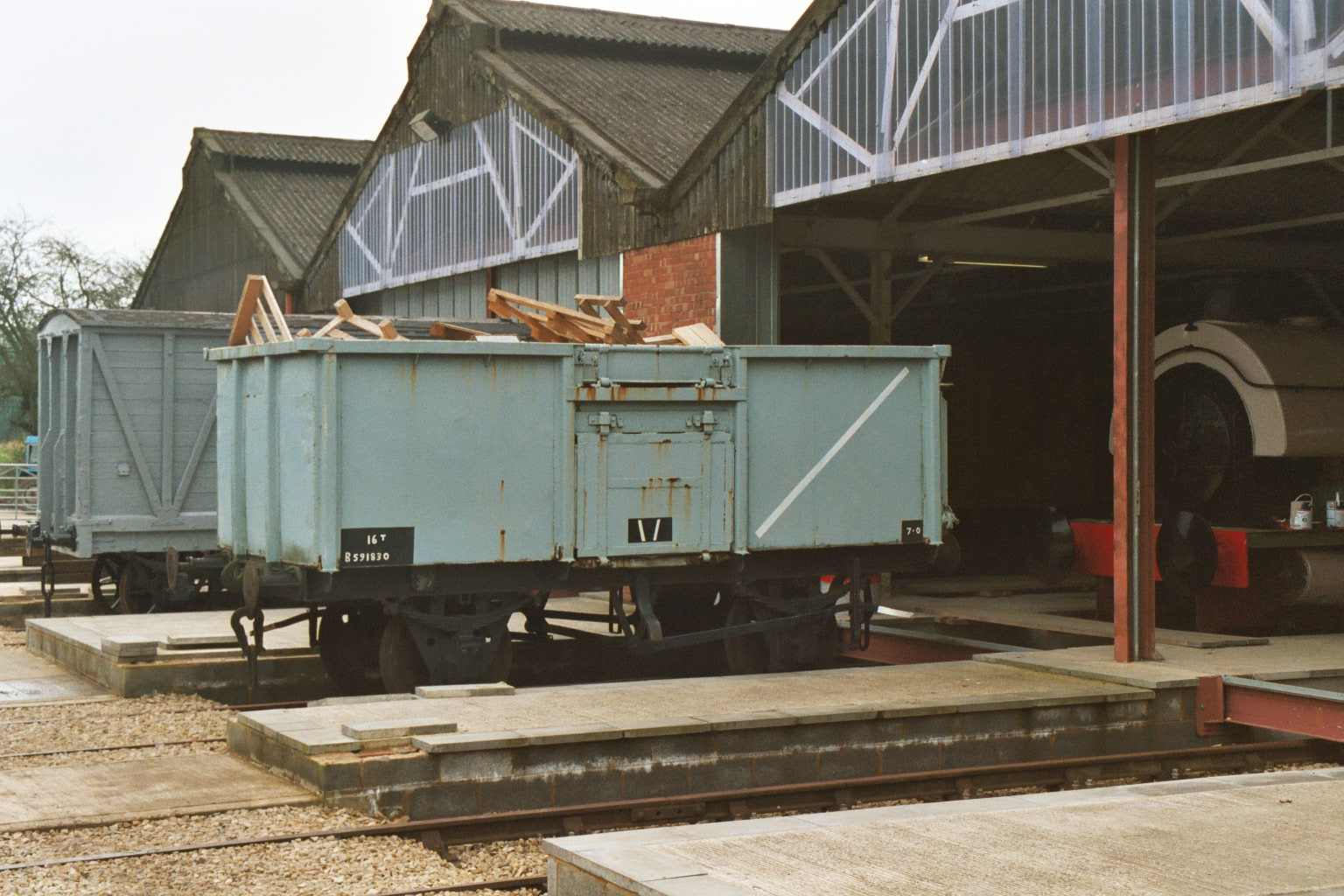 Coal Wagon in use as loco wood store