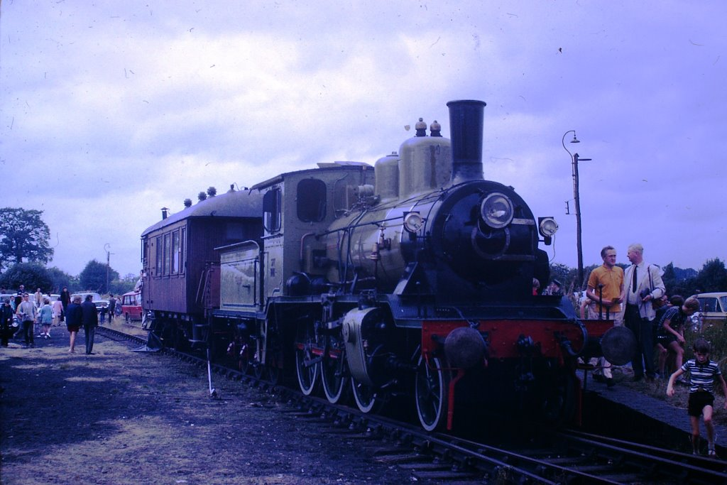Norwegian Railways 377 - <i>King Haakon VII</i> 2-6-0 at Quainton with support coach 29th August 1971