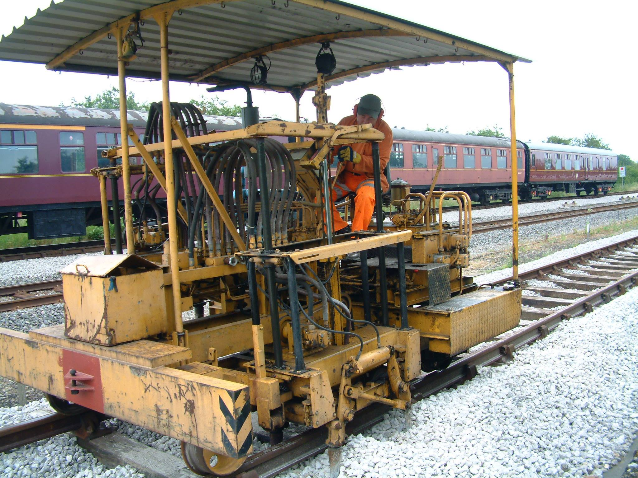 Tamping Machine in use in Down Yard Track