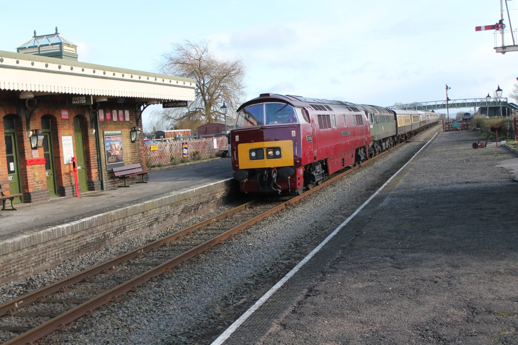 D1015 Western Champion with the The Chiltern Champion passing Quainton's Platform 1